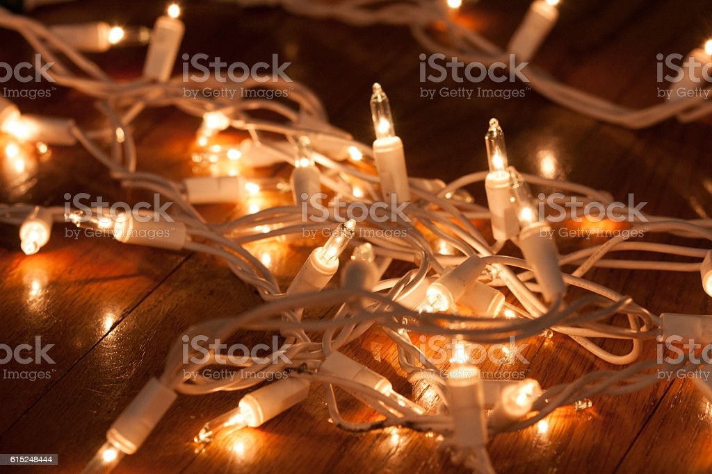 White Christmas lights stock photo