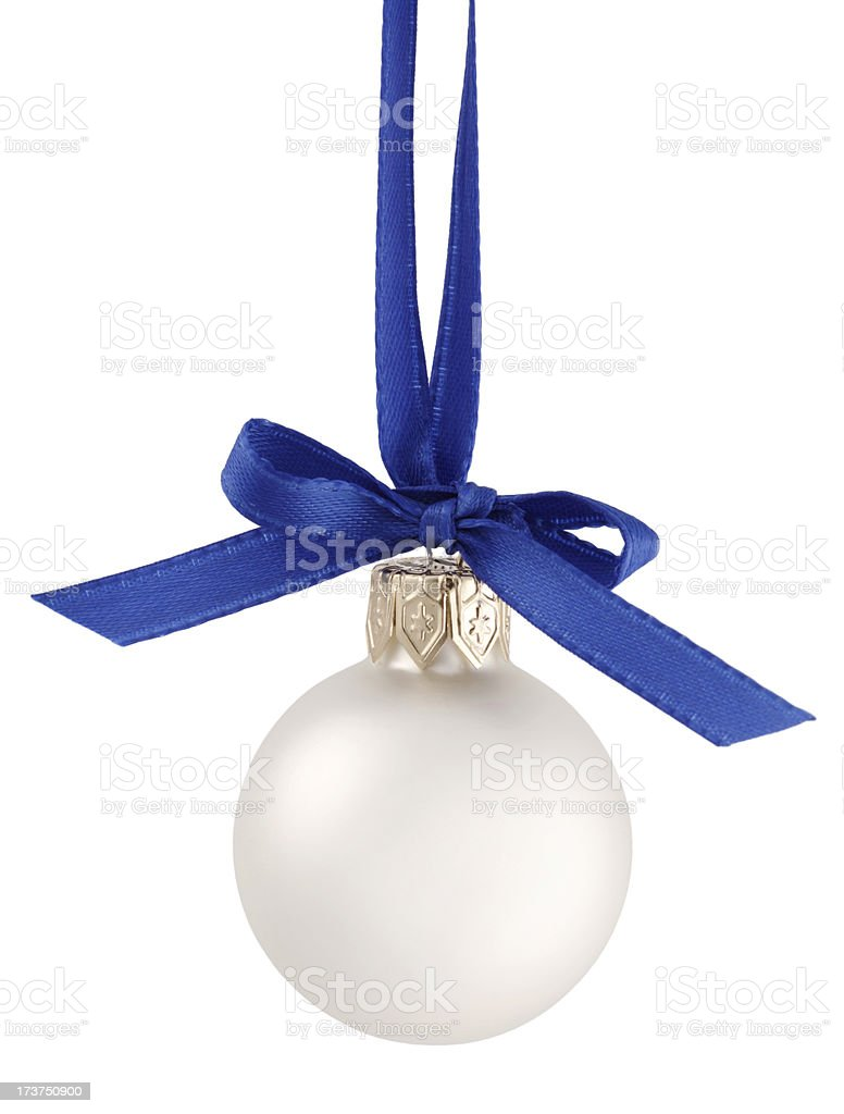 White Christmas Ornament with Ribbon royalty-free stock photo