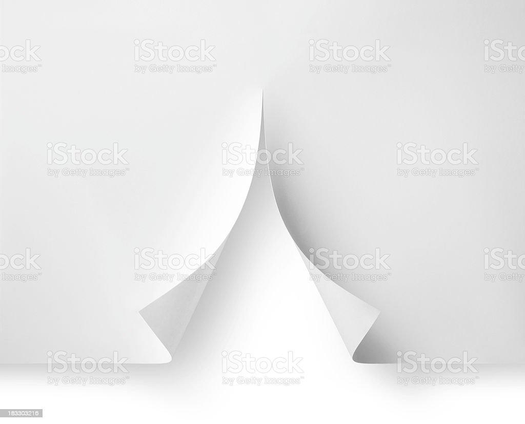 White Christmas. Paper cut in the shape of tree. stock photo