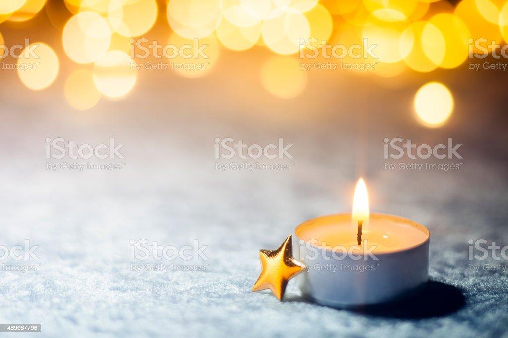 White Christmas - Star Candle Light Bokeh Defocused Decoration Gold stock photo