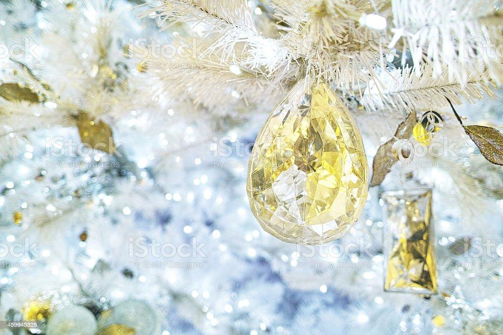 White Christmas Tree Ornaments royalty-free stock photo