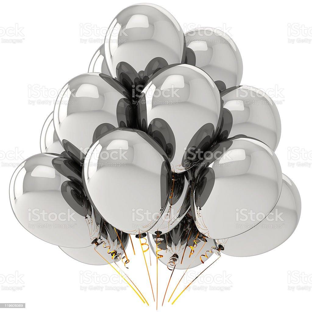 White chrome party balloons (Hi-Res) royalty-free stock photo