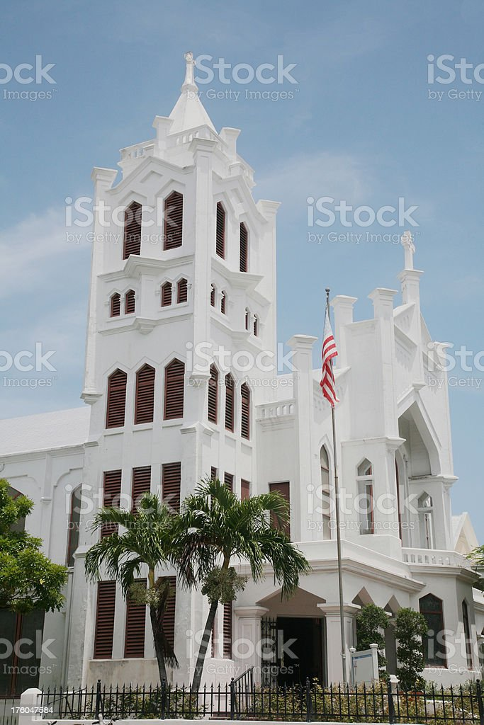 White Church Against Blue Tropical Sky stock photo