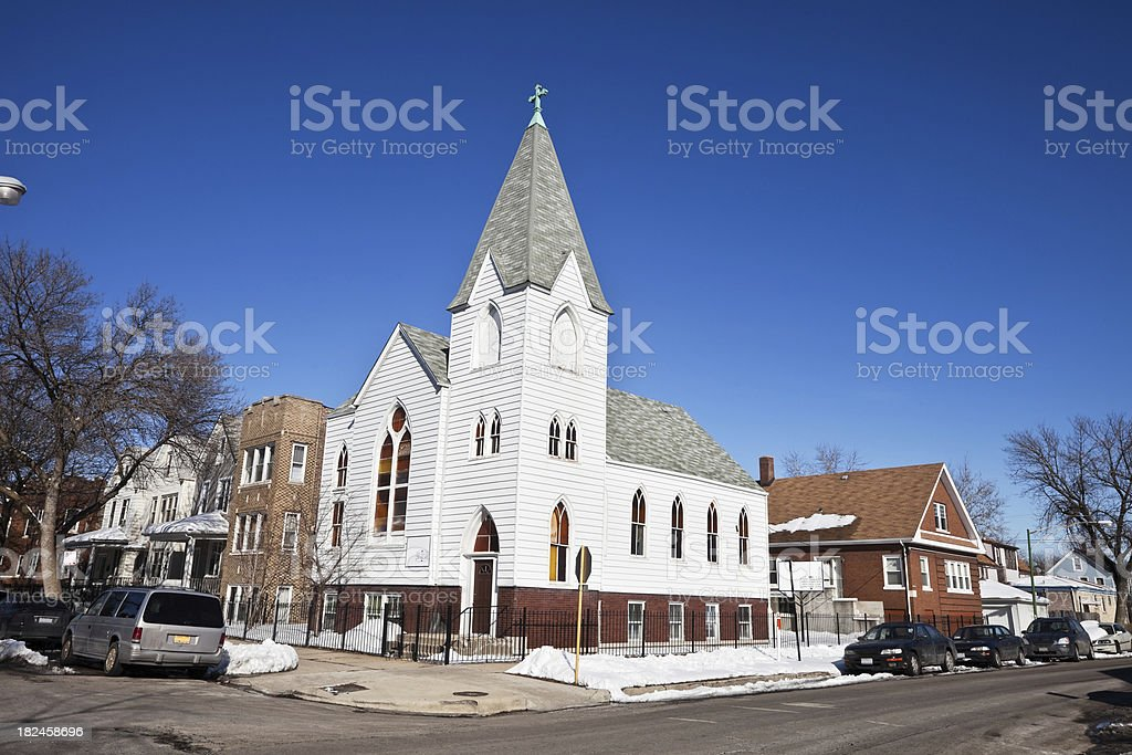 White Church in Hermosa, Chicago royalty-free stock photo
