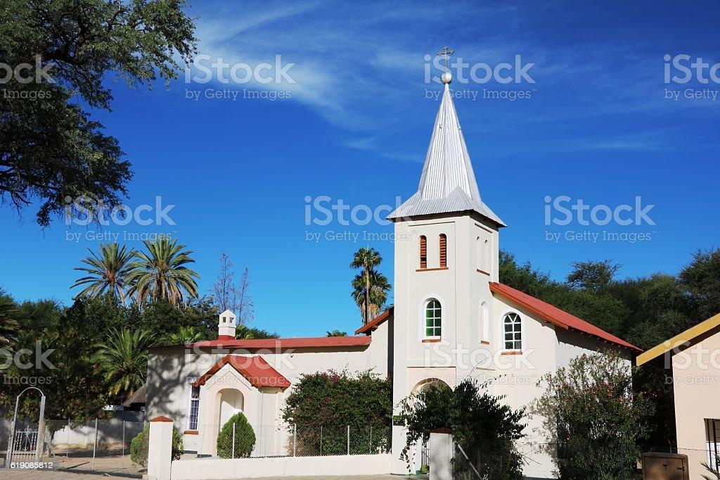 White church in Omaruru Erongo, Namibia Africa stock photo
