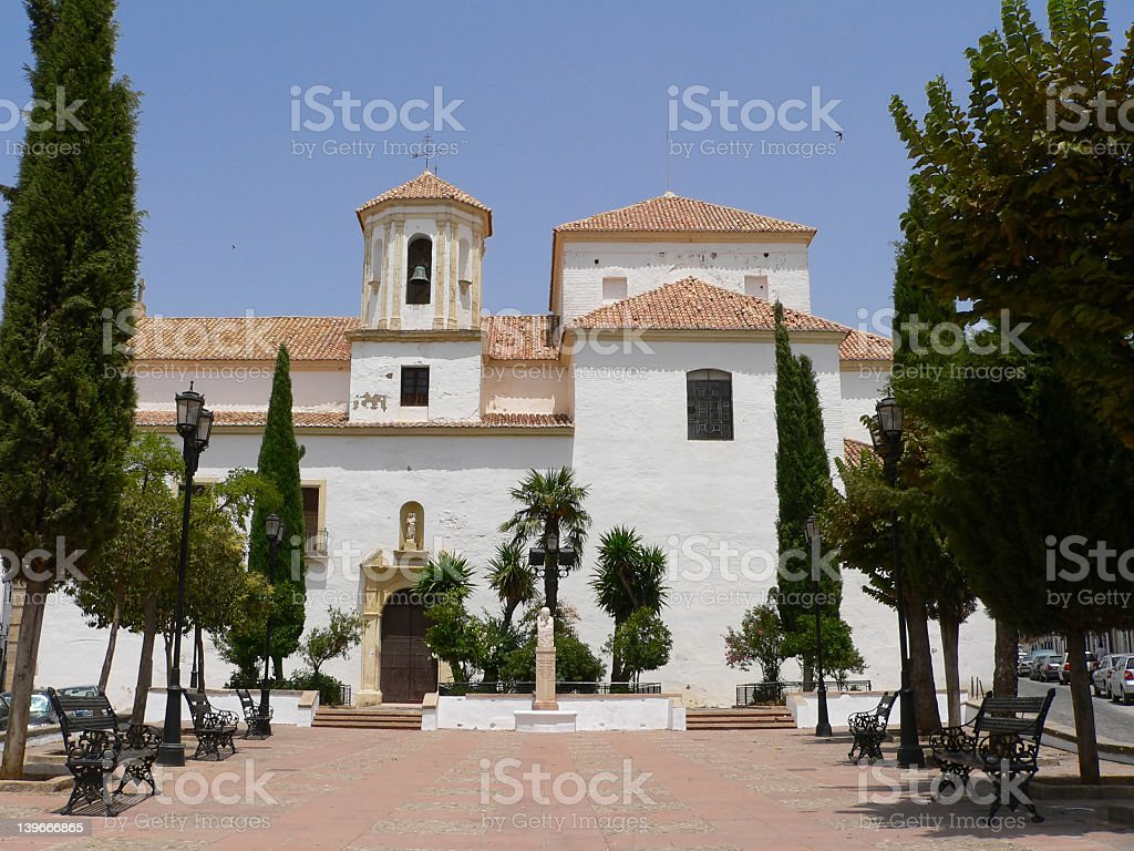 White church in Ronda, Spain stock photo