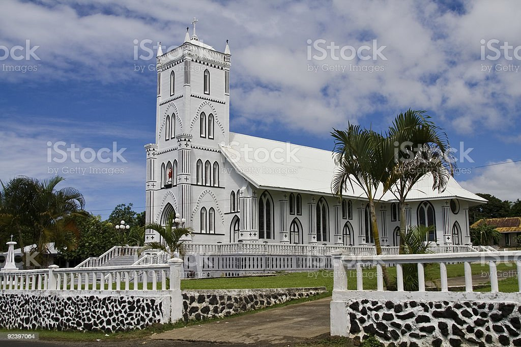 white church in samoa stock photo