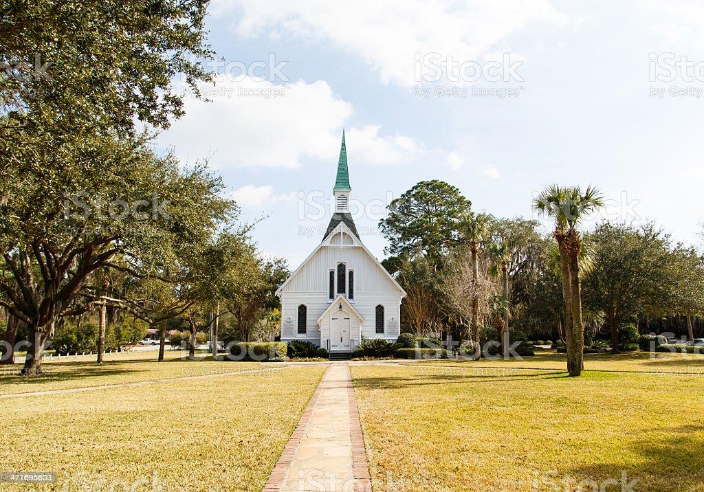 White Church in Winter Park stock photo