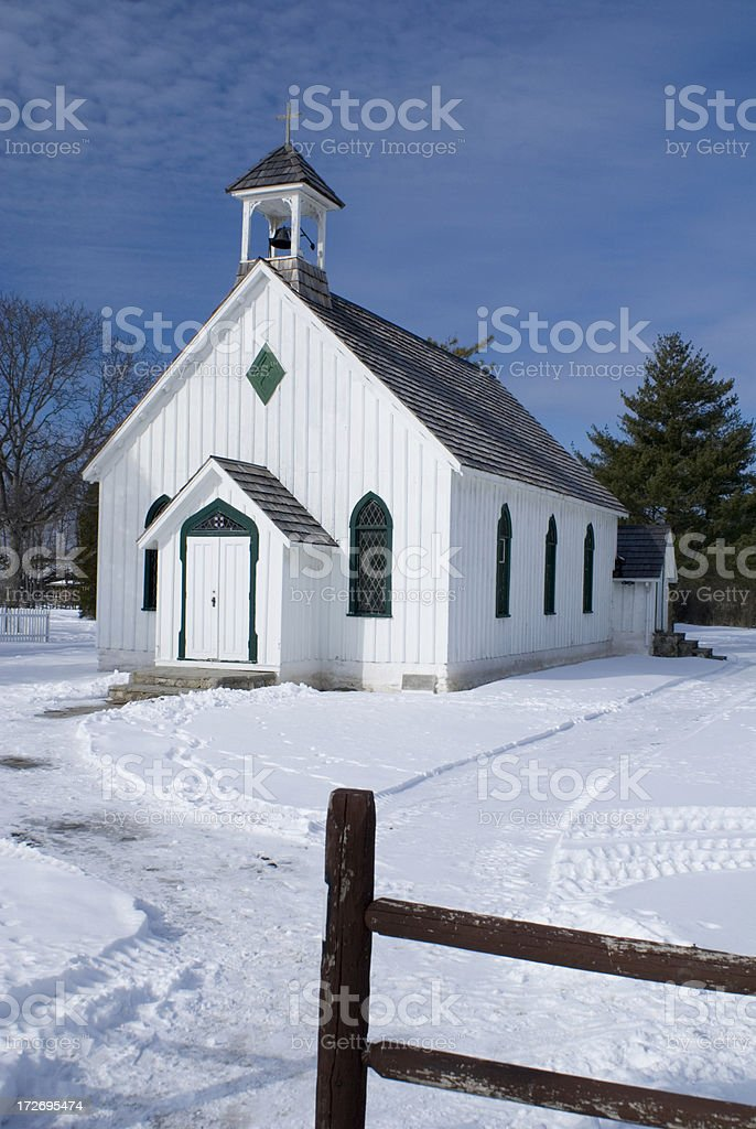 White Church in Winter royalty-free stock photo