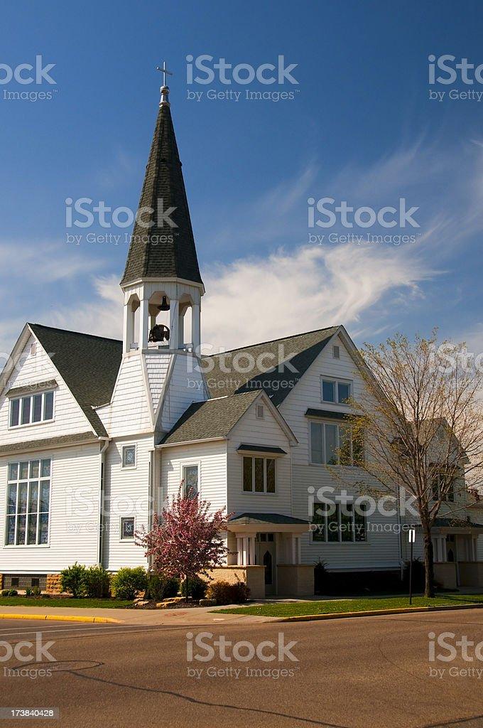 White Church on the Corner stock photo