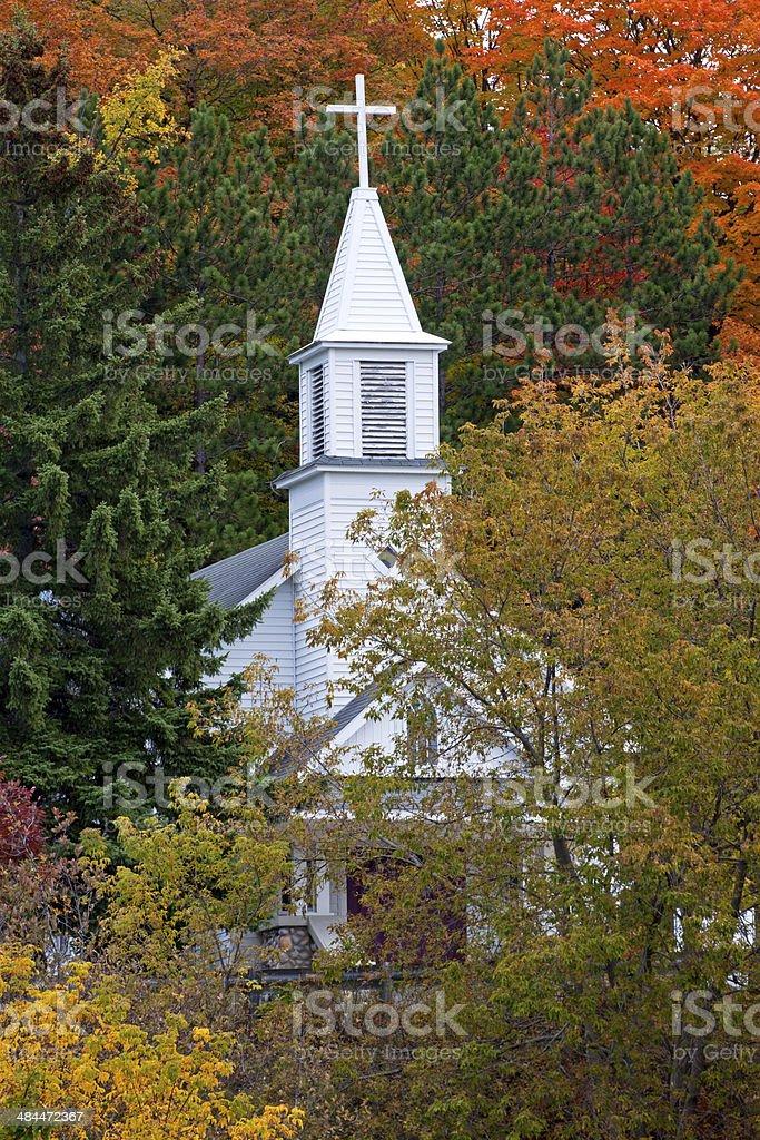 White Church Steeple in Autumn stock photo