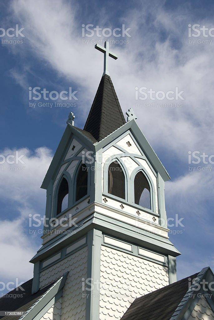 White Church Steeple royalty-free stock photo