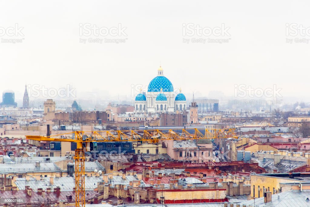 White church with blue domes stock photo