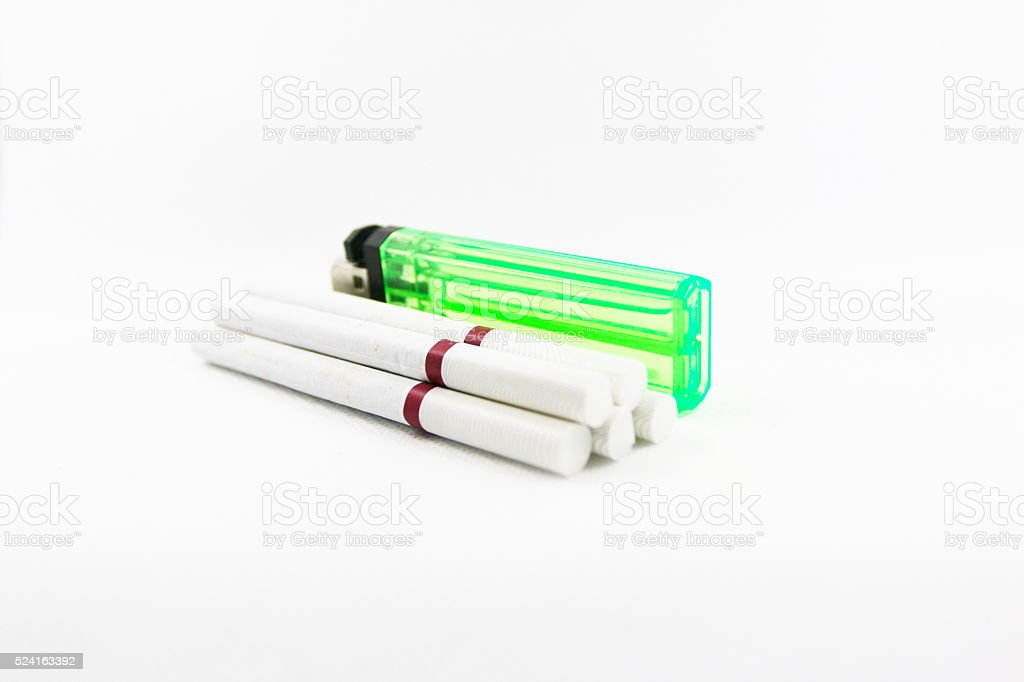 White Cigarette and Lighter stock photo