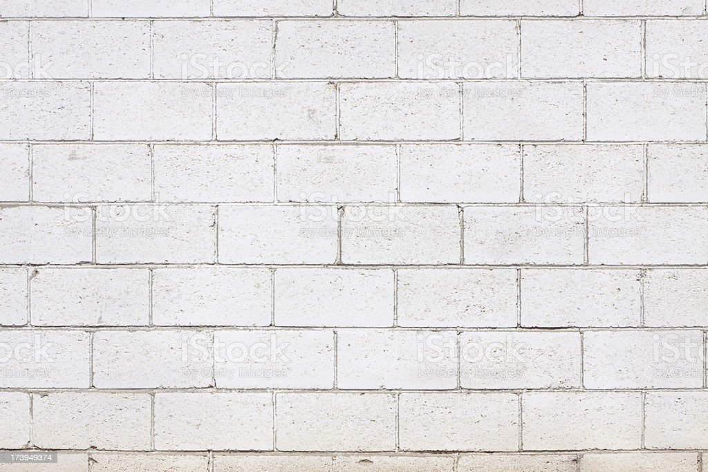 White Cinder Block Brick Wall stock photo