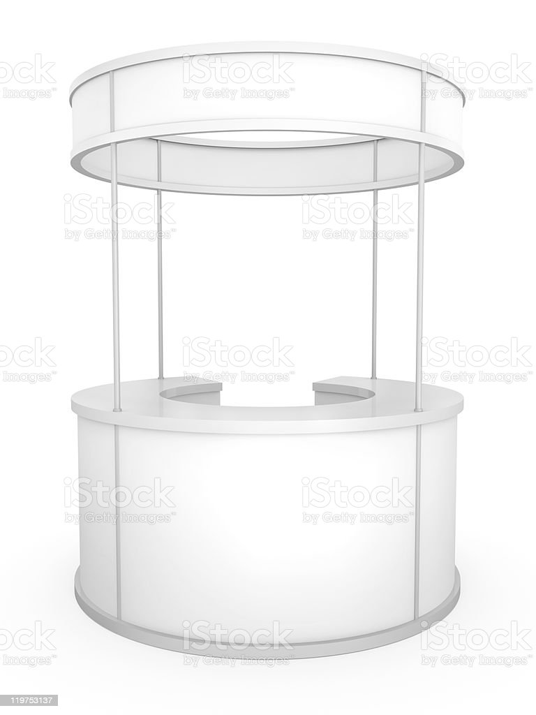 A white circular stand suitable for trade conventions stock photo