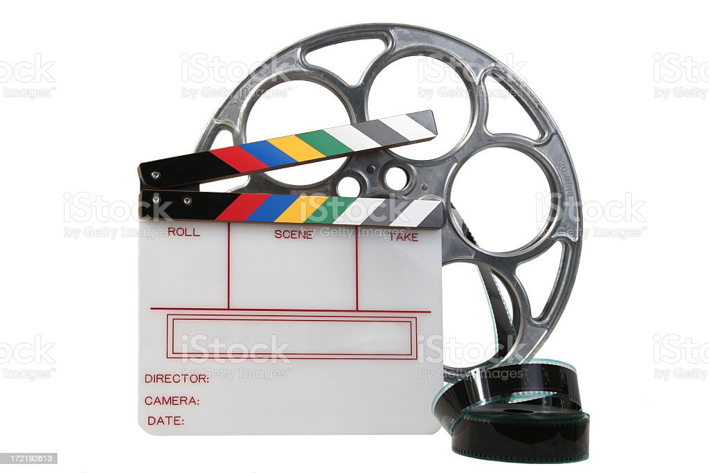 White Clapper and film reel stock photo