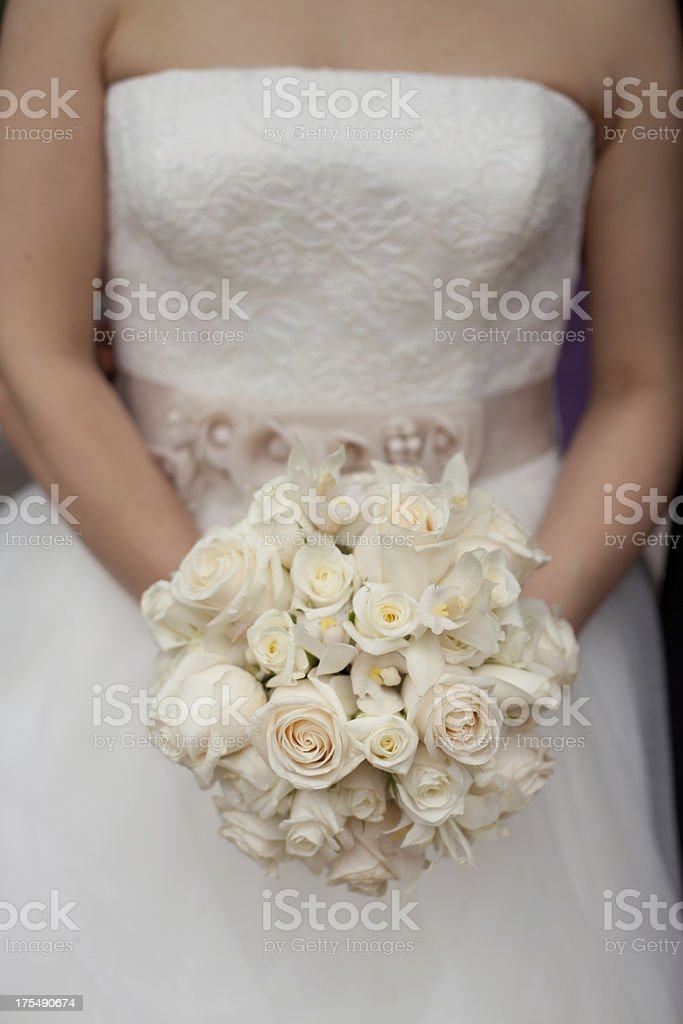 White classic bridal bouquet royalty-free stock photo