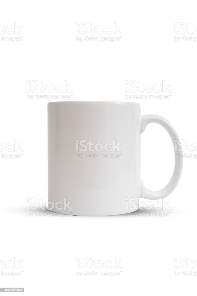 White Classic Coffee Cup Isolated on White (with clipping path) stock photo