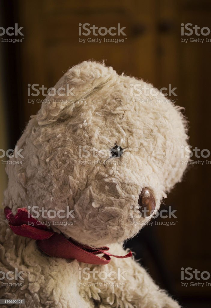 White Classic Teddy Toy Bear Looking Sad royalty-free stock photo