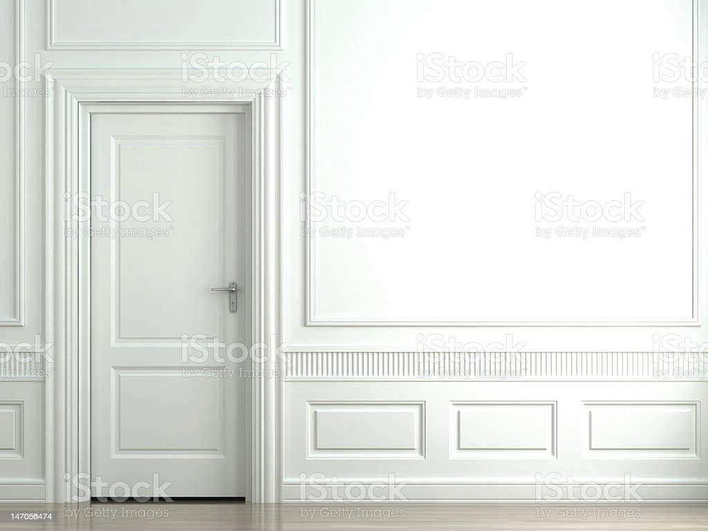 white classic wall with door stock photo