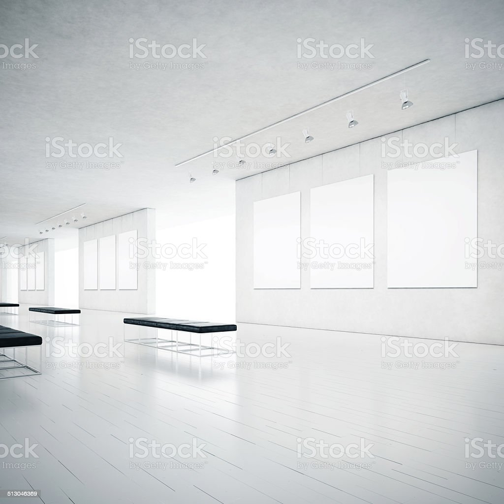 White clean gallery interior stock photo