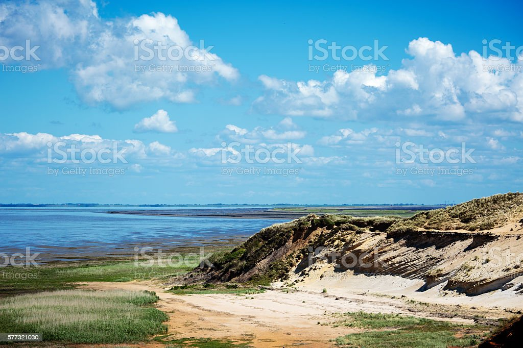 White Cliff at Hoernum with View to Wadden Sea stock photo