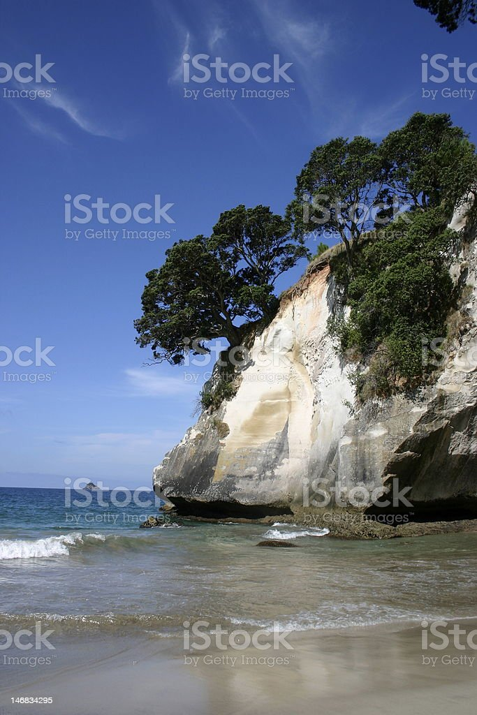 white cliff on New Zealand beach royalty-free stock photo