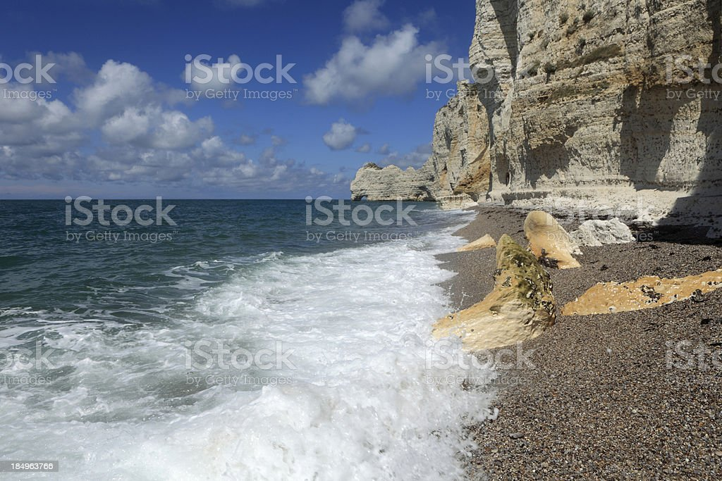 white cliffs and natural arches at Etretat in French Normandy royalty-free stock photo