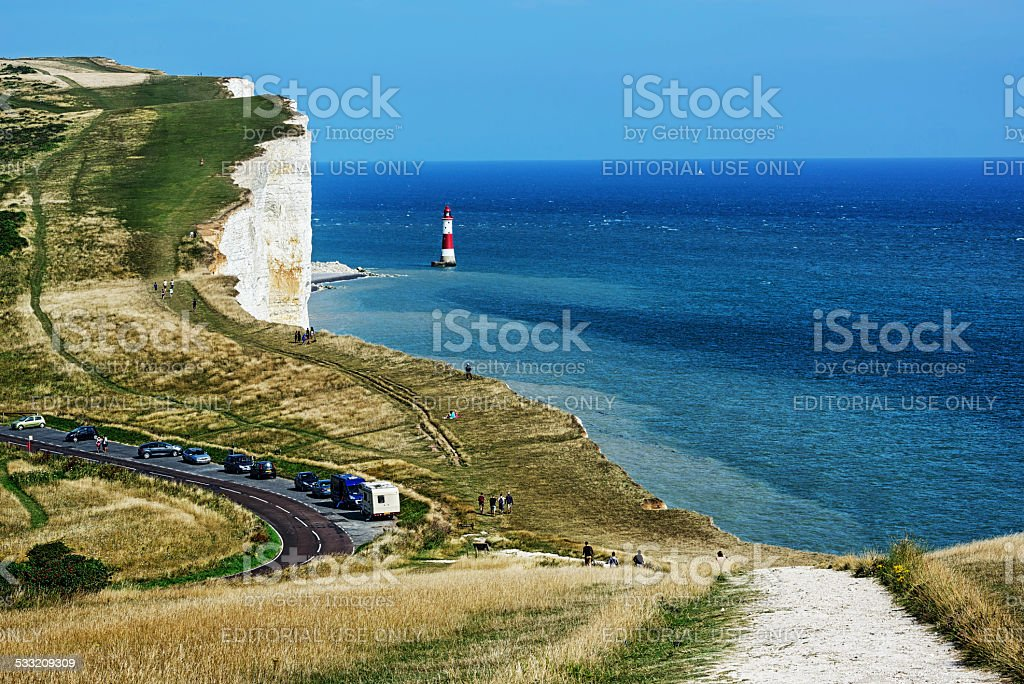 White cliffs and South Downs at Beachy Head stock photo