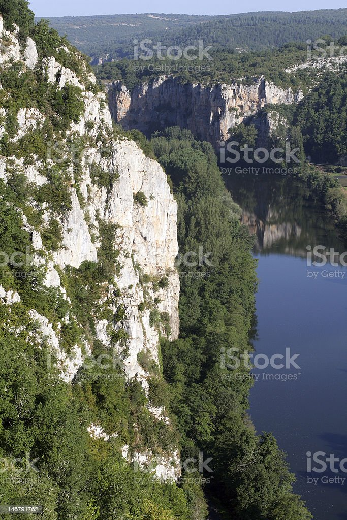White cliffs of Lot river valley stock photo