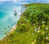 White cliffs sea stacks blue ocean Jurassic Coast Dorset UK