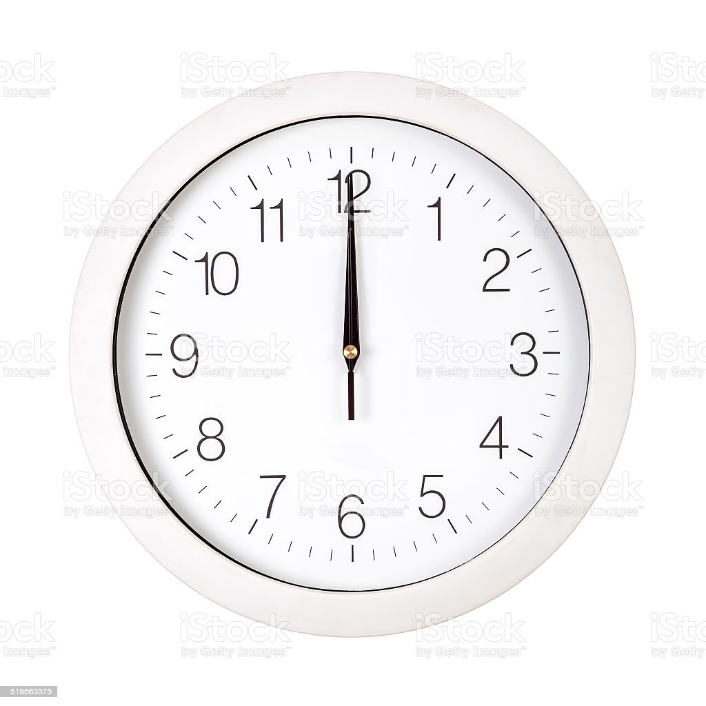 White clock face showing twelve o'clock stock photo