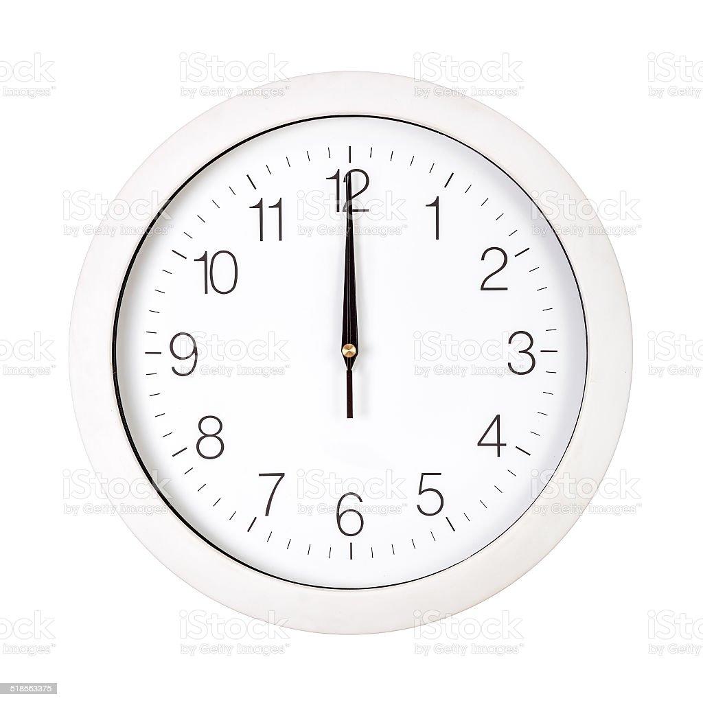 White clock face showing twelve o'clock stock photo