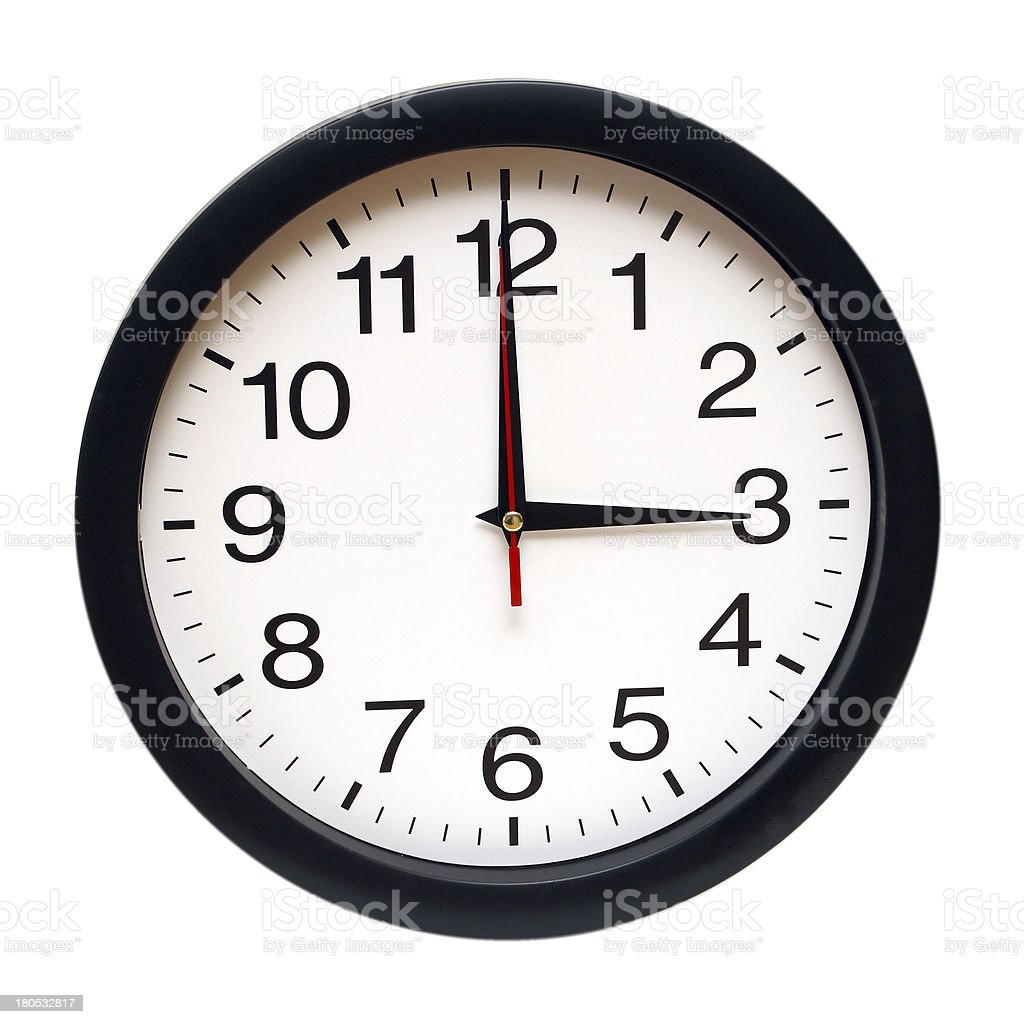 White clock with black rim stopped on three AM on white stock photo
