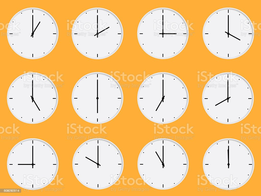 White clocks vector art illustration