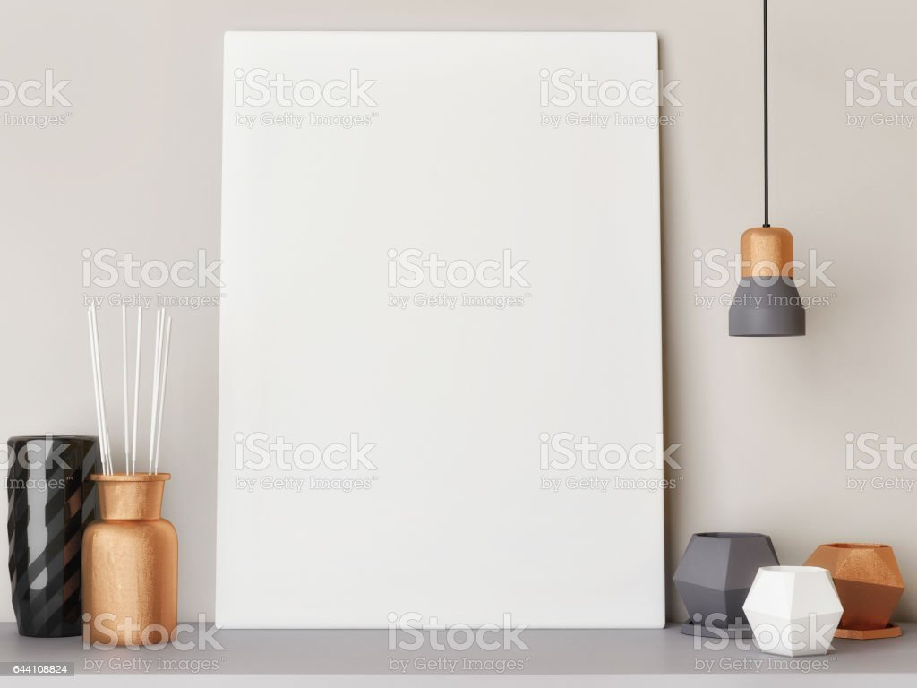White close up poster with decoration stock photo