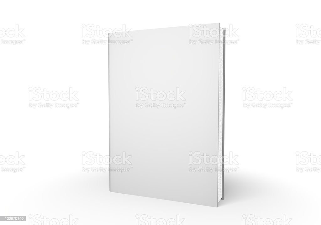 White closed book standing on a white table stock photo