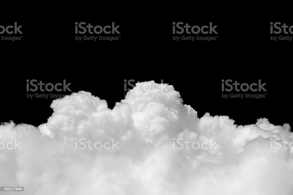 White cloud on black background stock photo