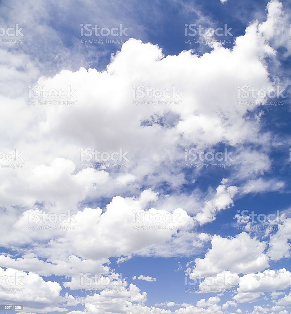White Clouds and Blue Sky stock photo
