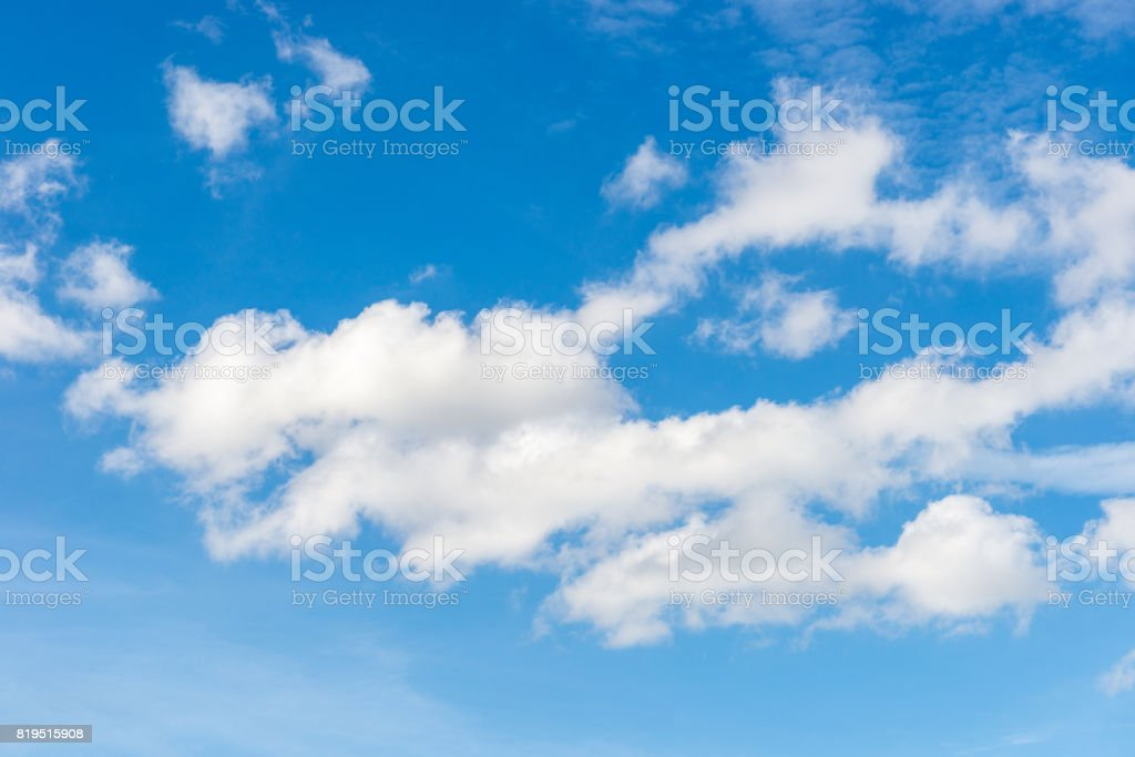 White clouds in summer blue sky background stock photo