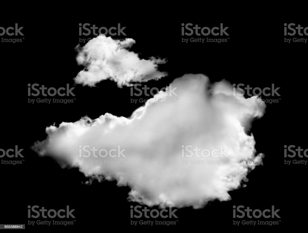 white clouds isolated on black background stock photo