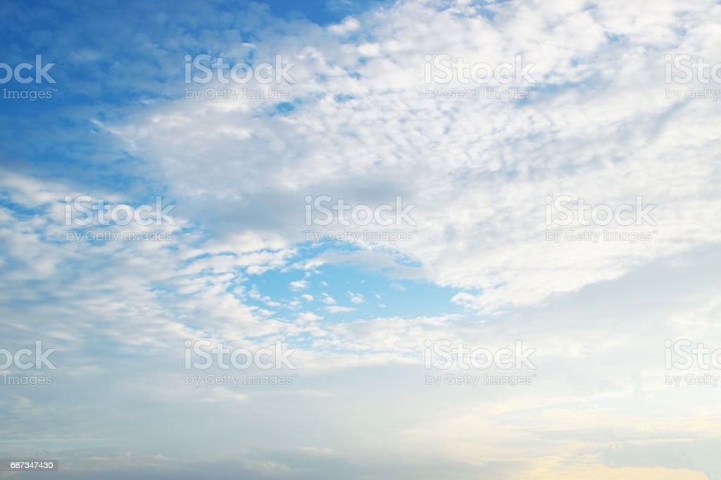 White clouds on the blue sky stock photo