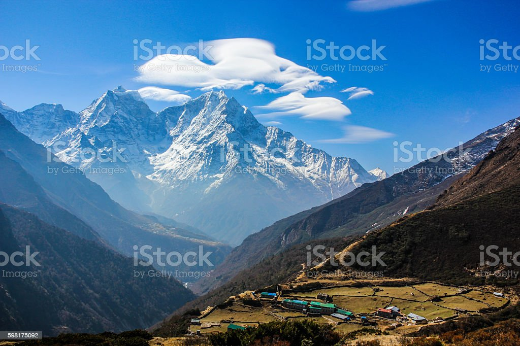 White clouds over the Himalayas stock photo