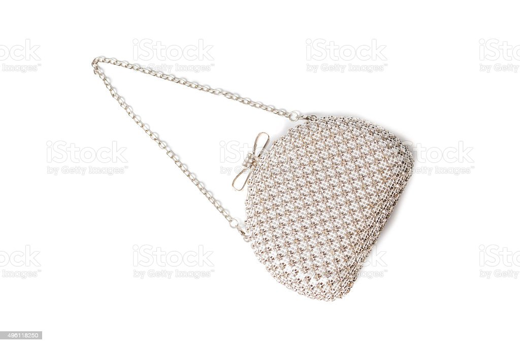 White clutch with diamonds on isolated white background stock photo