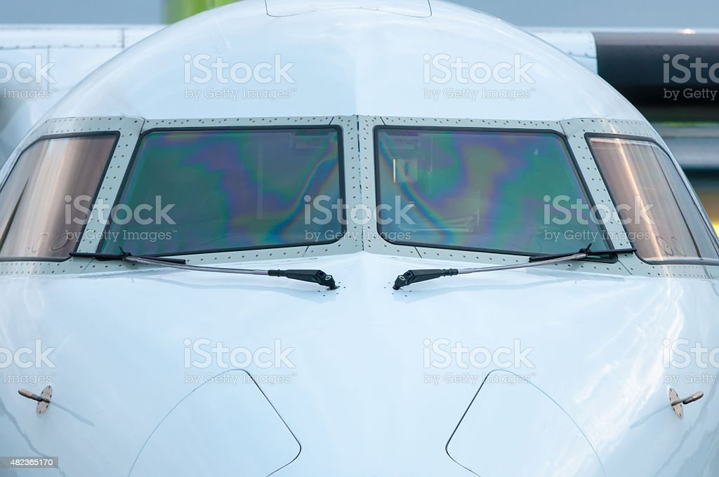 White Cockpit or cabin crew of aircraft witout pilot. Close stock photo