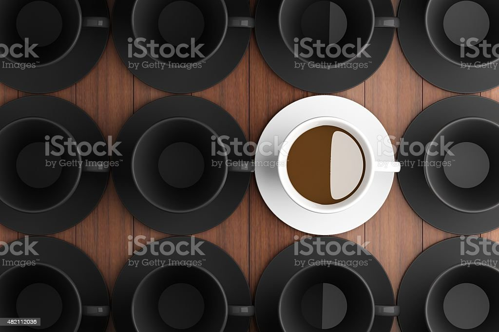 White coffee cup and black coffee cup. stock photo