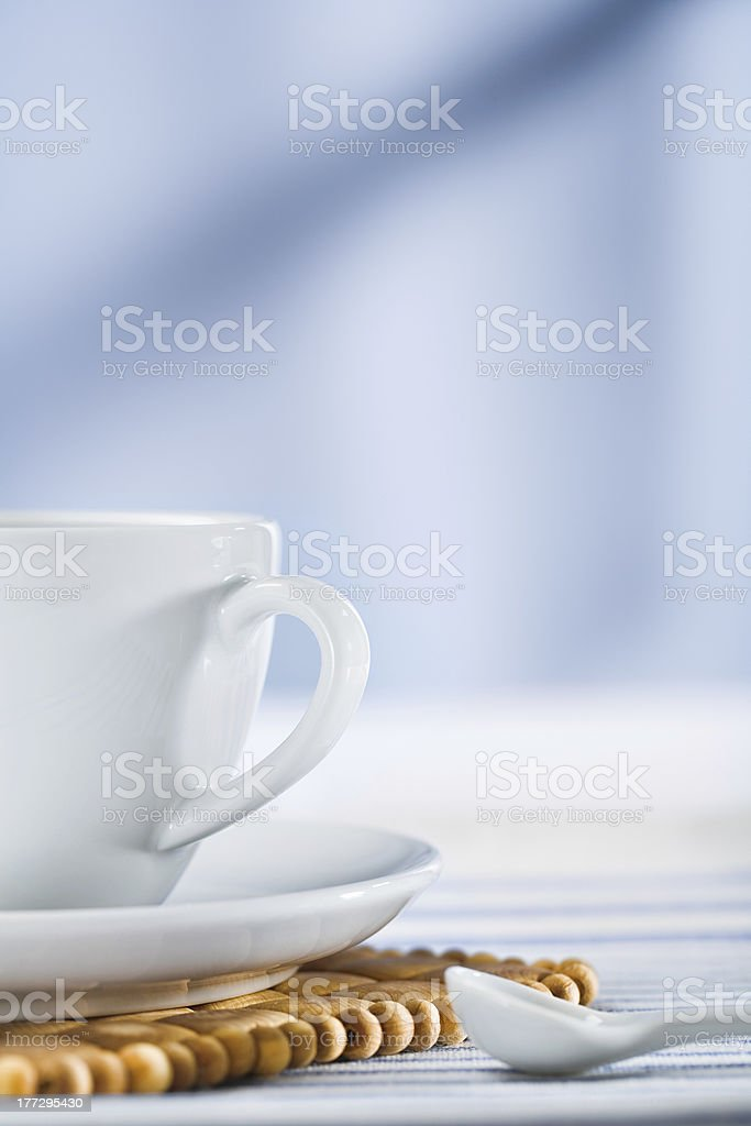 white coffee cup and spoon royalty-free stock photo