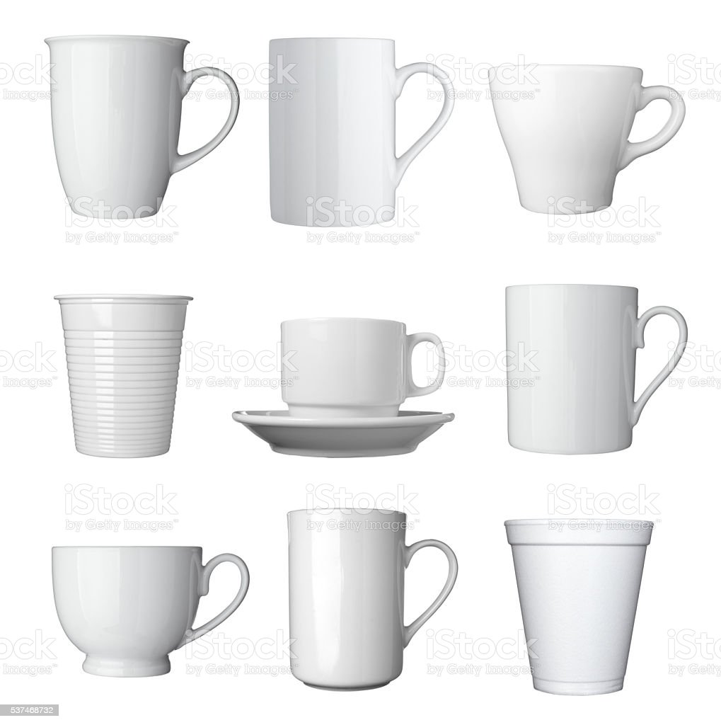 collection of various white coffee cups on white background. each one...