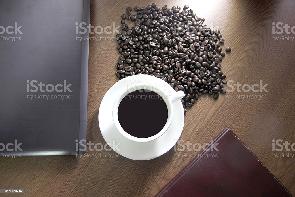 White coffee cup high angle and see computer. royalty-free stock photo